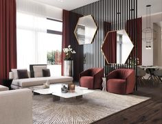 These moody burgundy shades make the mirror decor in this living room stand out. Try these colors in your own living room designs Living Room Modern, Interior Design Living Room, Living Room Designs, Chandelier In Living Room, Living Room Lighting, Mirrors In Living Room, Contemporary Interior Design, Modern Interior, Home Modern