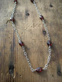 SALE  Hessonite and Sterling Silver Necklace by hoitytoitydesigns, $15.00