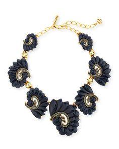 Y2MG3 Oscar de la Renta Resin Swirl & Crystal Necklace, Navy