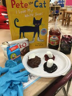 After reading Pete the Cat, I Love My White Shoes, all week, my students and I made FUNdue! We used marshmallows as white shoes. We dipped or stepped into strawberry preserves, blueberry preserves, and we made chocolate pudding for the mud! Students really enjoyed this activity as all participated in reviewing the story, answering questions, stirring, pouring, and eating! #originalidea #FUNdamentalLearning