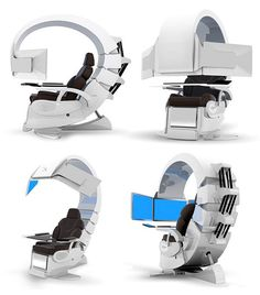 Emperor 200 luxury computer workstation.  This over-the-top looking setup gives you a comfy ergonomic leather seating unit with touch-screen controls, and a view to kill with three computer displays positioned just right for you to lean back and enjoy.