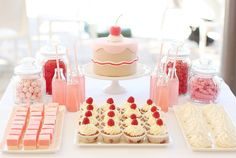 Adorable pink party table... so cute!