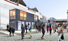 A sleek shipping-container pop-up mall at South Street Seaport is expected to draw sleek visitors. At Hurricane-Ravaged Seaport, New Forecast Calls for Glitter Rain Shipping Container Restaurant, Shipping Container Homes, Shipping Containers, Container Van, Container House Design, Container Houses, Container Architecture, Architecture Design, Brooklyn Brewery