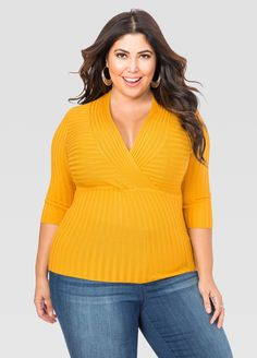 Deep V Fitted Ribbed Sweater - Ashley Stewart | Jessica Milagros ...