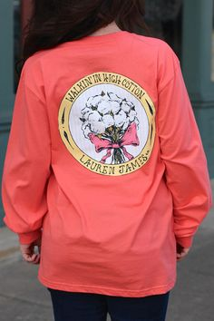 LAUREN JAMES: Walkin' in High Cotton Tee {Deep Sea Coral} | The Fair Lady Boutique