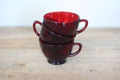 Vintage Ruby Red teacups!!