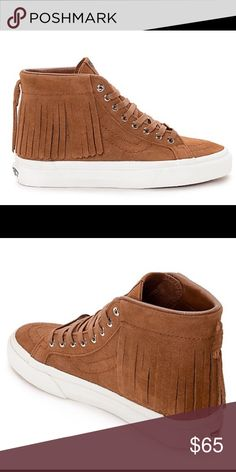 Sk8-Hi Moc Sneaker brown Super cute brown brown high top vans with fringe! Sk8-Hi Brown Moc Shoes (Women's) from Vans. High top shoes with slim design. Suede upper with lightly padded leather high top collar. Cushioned footbed for comfort.  Got a size too small, worn once no box Vans Shoes Sneakers