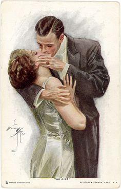 Kiss -   Harrison Fisher (American Illustrator, 1877-1934)