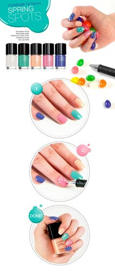 Hunting for the perfect spring manicure has never been easier with Easter egg-inspired nail art. Get the look with Outlast Stay Brilliant Nail Gloss in Mint Mojito #285, Peaches & Cream #125, Everbloom #160, Vio-Last #300, and Snowstorm #110.