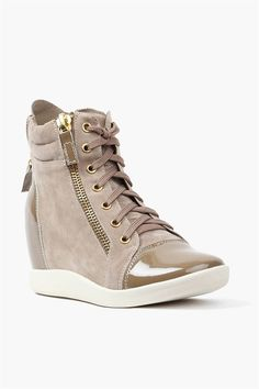 Shine Wedge Sneakers in Taupe