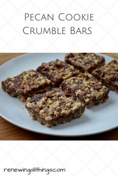 Pecan Cookie Crumble Bars: Gluten free, flour free, dairy free, and AMAZING! Sweetened with honey!