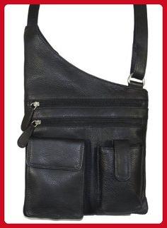 Paul & Taylor Genuine Leather Crossbody Bag with Pockets 5931 (Black) - Satchels (*Amazon Partner-Link)