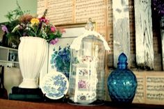 Cottage vignette, this is on top of my mantel, all garage or thrift store finds