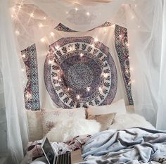 tapestry + lights + canopy