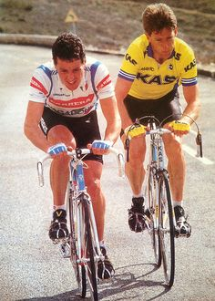 Sean Kelly (rode for KAS 86-88) and Stephen Roche (rode for Carrera 86-87) - Irish eyes are smiling.