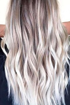 Golden Blonde Balayage for Straight Hair - Honey Blonde Hair Inspiration - The Trending Hairstyle Brown Blonde Hair, Ash Blonde Balayage Silver, Gray Hair, Blonde Hair For Winter, Highlights In Blonde Hair, Ash Blonde Bob, White Ombre Hair, Ice Blonde Hair, Blonde Waves