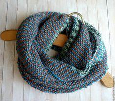 Вяжем спицами из секционной пряжи шарф-снуд в два оборота - ЯМ