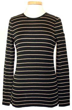 Ralph Lauren Womens Shirt Metallic Stripe Top Stretch Crewneck Black Gold XL NEW #RalphLauren #KnitTop #Casual