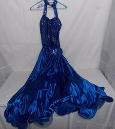 Custom Made Blue Latin Dance Transition To Smooth  2 In 1 Ball Gown Competition #CustomMade