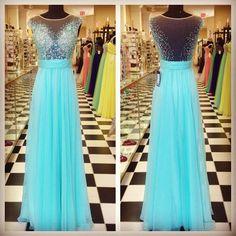 Chiffon prom dress, winter formal, Beautiful blue green sequins chiffon long dress for teens