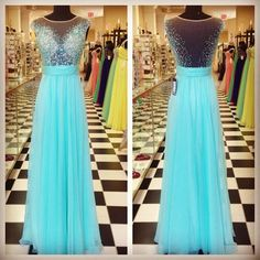 Chiffon prom dress, winter formal, Beautiful blue green sequins chiffon long dress for teens