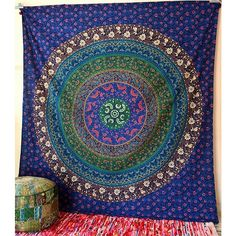 FLORAL MULTI COLOR Cotton Fabric Wall Mandala Tapestry Hippie Boho... (590 THB) via Polyvore featuring home, bed & bath, bedding, flowered bedding, multi colored bedding, tapestry bedding, colorful bedding and cotton bed linen