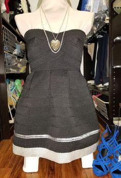 24d0de7e7c68 Sans Souci Black Silver Strapless Sweetheart Flare Bubble Prom Party Dress  - S  fashion