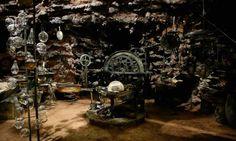 The Tempest - cave scene; love the beakers nested in iron racks | Production Designer: Mark Friedberg
