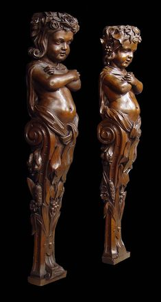 Antique pair carved walnut caryatids boy and girl Baroque style. -  26.5 inches Tall