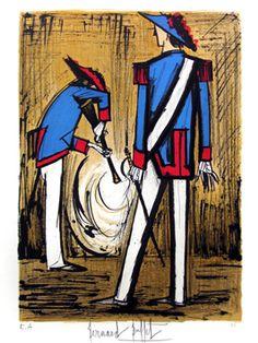 Buffet Bernard : Lithographie originale signée : Soldats