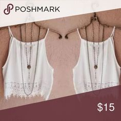 """White Lace Tank Top White Sheet Lace Tank Top. Size medium. Bust 34"""" Length 14 1/2"""" Tops Tank Tops"""