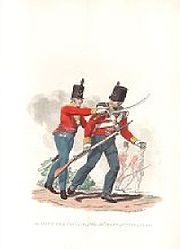(Oxfordshire) Regiment of Foot (Light Infantry), early Officer and private, showing short jackets and stovepipe shako with bugle badge and green plume. J C Stadler, after C H Hamilton, century Victorian Illustration, Finding Treasure, Battle Of Waterloo, British Army, 19th Century, Badge, Short Jackets, Hamilton, Military