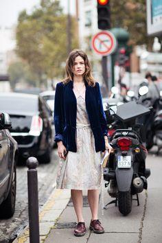 Velvet blue jacket.  Stockholm Street style