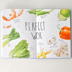 Perfect_WOK | by Anna Rastorgueva Watercolor Food, Watercolor Sketchbook, Fruit Illustration, Food Illustrations, Moleskine Sketchbook, Sketchbooks, Homemade Recipe Books, Food Typography, Recipe Drawing