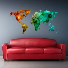 Full Color Wall Decal Mural Sticker Decor World Map Watercolor Triangle (Col766) #3MFDC #Country