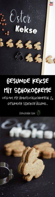 Osterkekse /-guetzli mit Schokocreme   vegan mit Dinkelvollkornmehl, gesunder Schokofüllung & vegan... Bei diesen Osterkeksen könnt ihr gerne auch öfter zugreifen! #kekse #cookies #gesundekekse #ostern #osterhase #ostergebäck #osterkekse #guetzli #keksteig #mürbeteig #schokokekse #nutella #gesundenutella #gesundbacken #haselnüsse #nussmus #nussbutter #vegan #veganerkeksteig #hasen #diy #fraujanik