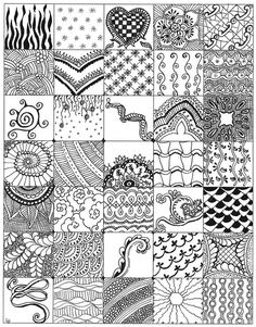 "While making my first 4 Zentangles I started making samples of possible new designs and drew them in 1 1/4"" size one single sheet of paper. Here is what I came up with."