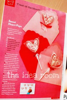 sweet heart pops-using mini candycanes : The Idea Room