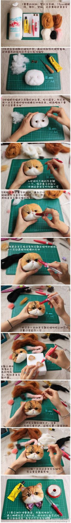 手工 Needle Felted Cat, Needle Felted Animals, Felt Animals, Needle Felting Tutorials, Wool Art, Felt Cat, Felt Brooch, Cat Crafts, Wet Felting