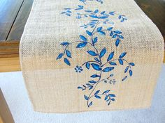 Blue flowers wedding table runner, French Country wedding linens, Burlap table runner hand painted, Vintage wedding table runner