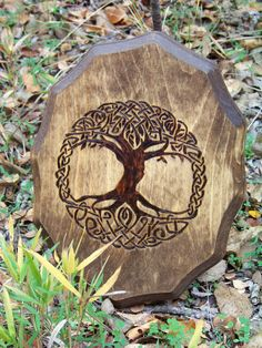 Tree of Life Wood-burned Wall Plaque от SleepingGryphon на Etsy