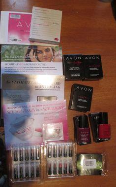 Lot Avon Cologne Samples Vials Lipsticks Anew skin care 2 full size nail polish #Avon