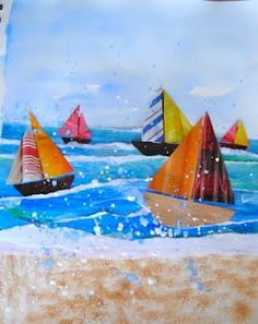 This is a nice change up from the sail boat collage I do. Torn paper strips for water, sponged sand, etc.