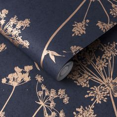 Anthriscus Dusk Wallpaper combines a deep navy blue palette with pops of contrasting copper metallic silhouettes. Check it out now at Graham & Brown. Large Print Wallpaper, Brown Wallpaper, Metallic Wallpaper, Home Wallpaper, Bedroom Colors, Bedroom Decor, Floral Bedroom, Flower Power, Navy Living Rooms