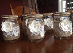Rustic Shabby Mason Jar Wrapped with Burlap & Lace Embellished with Cream Colored Faux Flowers, Wedding, Shower, Centerpiece, Tablescape Tea Light Candles, Tea Lights, Country Chic Party, Rustic Centerpieces, Wedding Centerpieces Mason Jars, Wedding Shower Decorations, Burlap Lace, Pearl And Lace, Altered Bottles