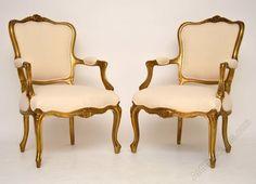Pair Of Antique French Gilt Wood Salon Armchairs - Antiques Atlas