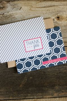NEW Navy & White Pin Stripe Thank You Cards from Polka Dots and Daisies. I love these! #thankyous #cards