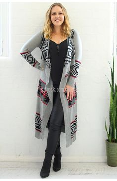 Maya Aztec Waterfall Cardi in Grey $35  Go for an earthy, comfy look with the Maya Aztec Waterfall Cardi and a form fitting maxi dress! This cardigan can be dressed up or down, the open front waterfall collars gives it a relaxed look which is easy to play down. The thin knit can be layered with something more crisp and neat to create a more formal look too.