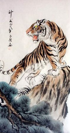 """Tiger  Art decor """" Mountain tiger """" tiger hand painting, Original Chinese painting, tiger watercolour, tiger painting, art, abstract,"""