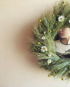Dried flower wreath with mirror. for spring and summer.